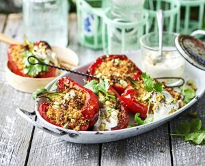 Peppers stuffed with pistachio-harissa couscous